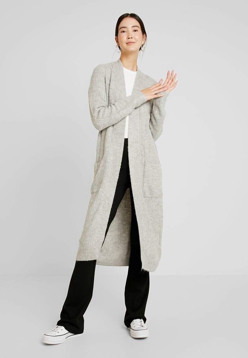 Vero Moda Tall - VMCORA LONG OPEN CARDIGAN - Cardigan - light grey melange