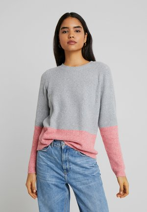 VMDOFFY BLOCK - Maglione - light grey/tea rose