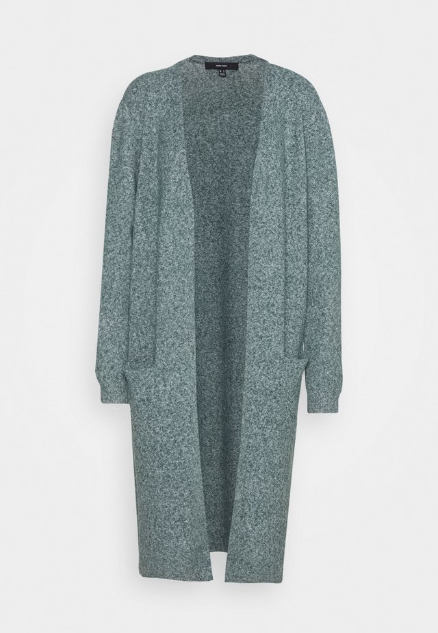 VMDOFFY LONG OPEN CARDIGAN - Cardigan - pine grove/white melange