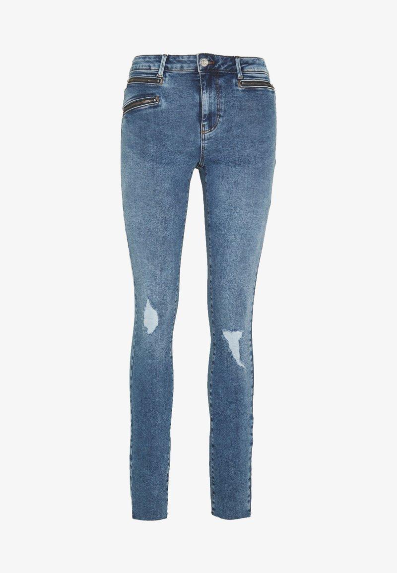 Vero Moda Tall - VMSEVEN SLIM ZIP ANK JEANS - Skinny džíny - medium blue