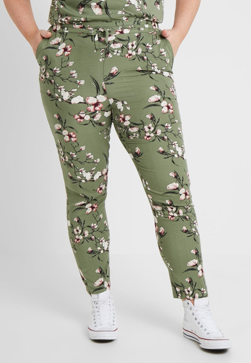Vero Moda Curve - VMSIMPLY EASY PANT - Trousers - oil green