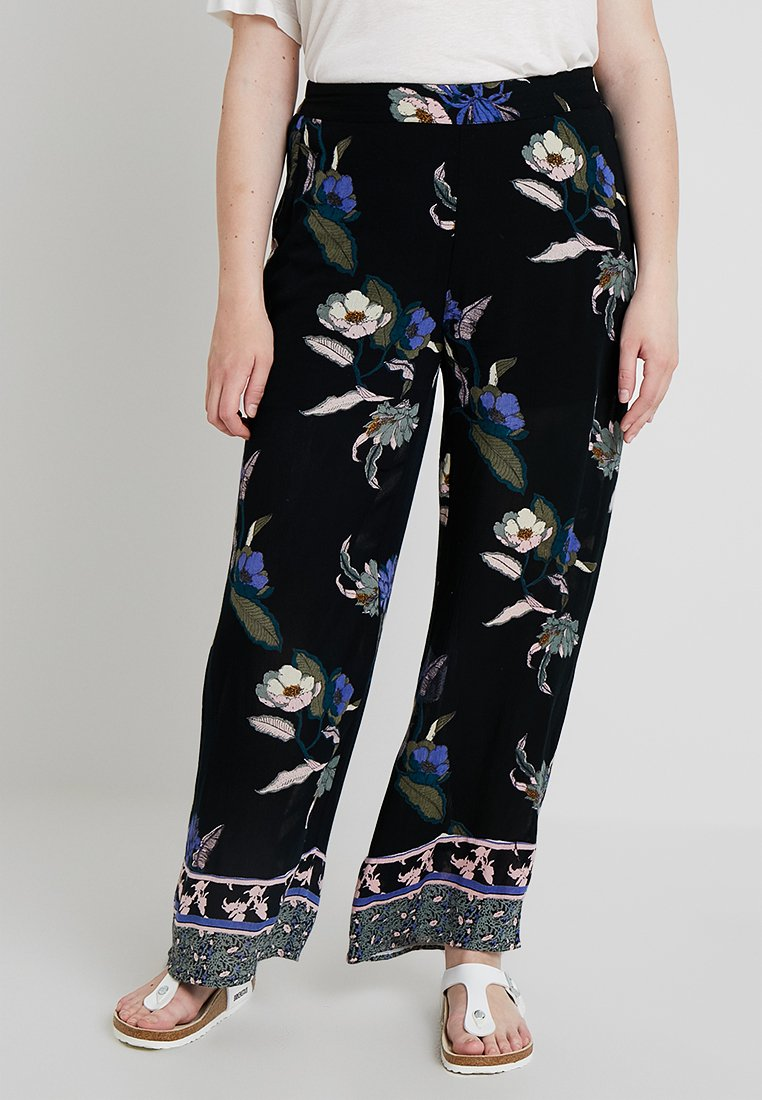 Vero Moda Curve - VMOLINA WIDE PANTS - Trousers - black