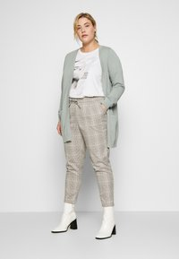 Vero Moda Curve - VMEVA MR LOOSE STRING CHECK - Pantalon classique - silver mink/birch/light blue/black - 1