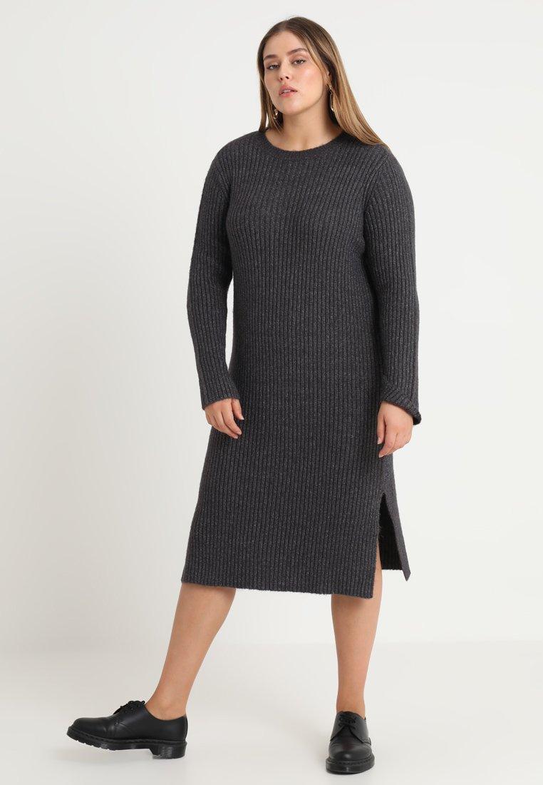 Vero Moda Curve - VMROZINA O NECK DRESS - Maxikleid - dark grey melange
