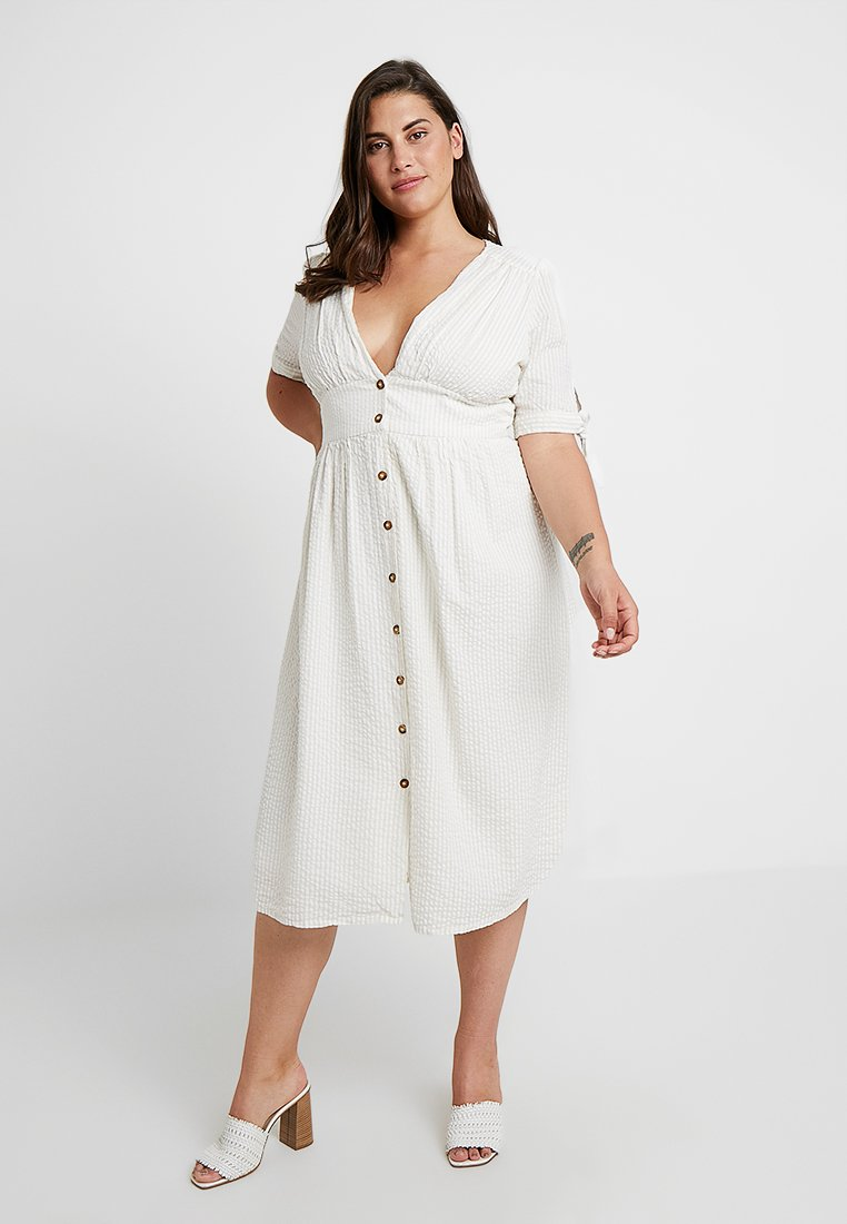 Vero Moda Curve - VMMILA CALF DRESS - Blusenkleid - snow white/oatmeal