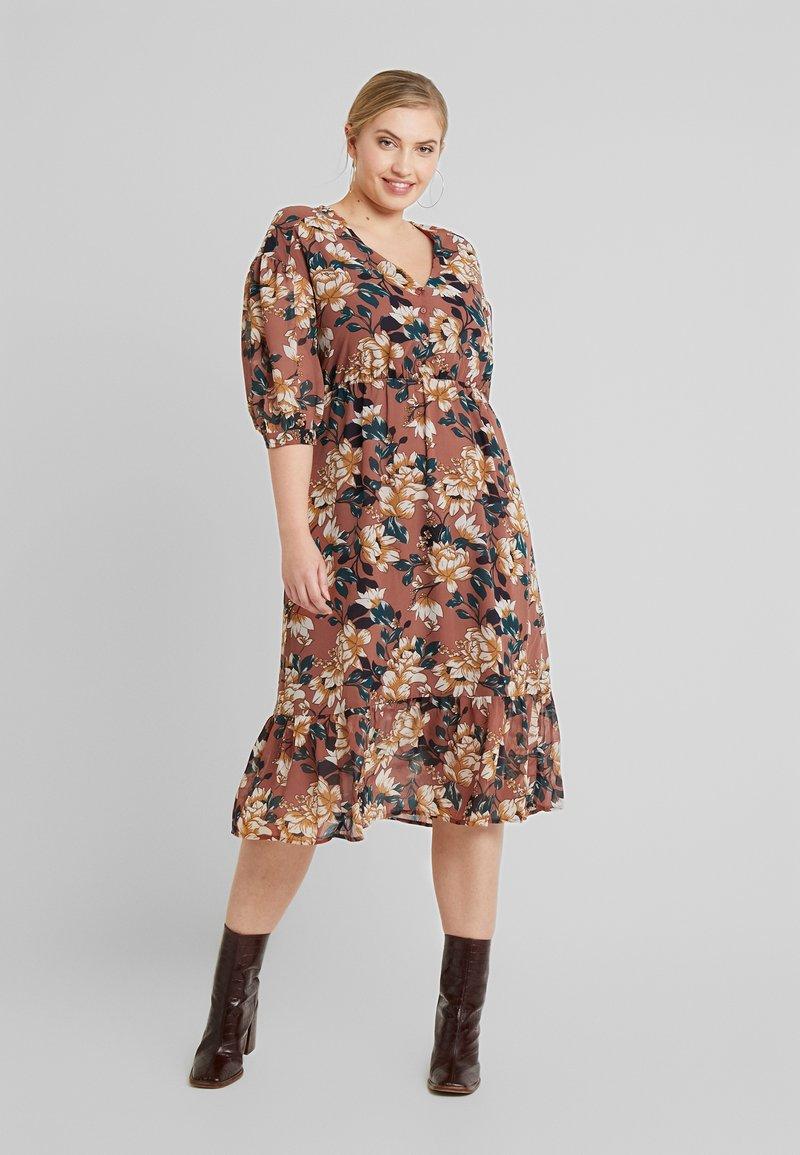Vero Moda Curve - VMWILMA CALF DRESS - Shirt dress - mahogany/wilma