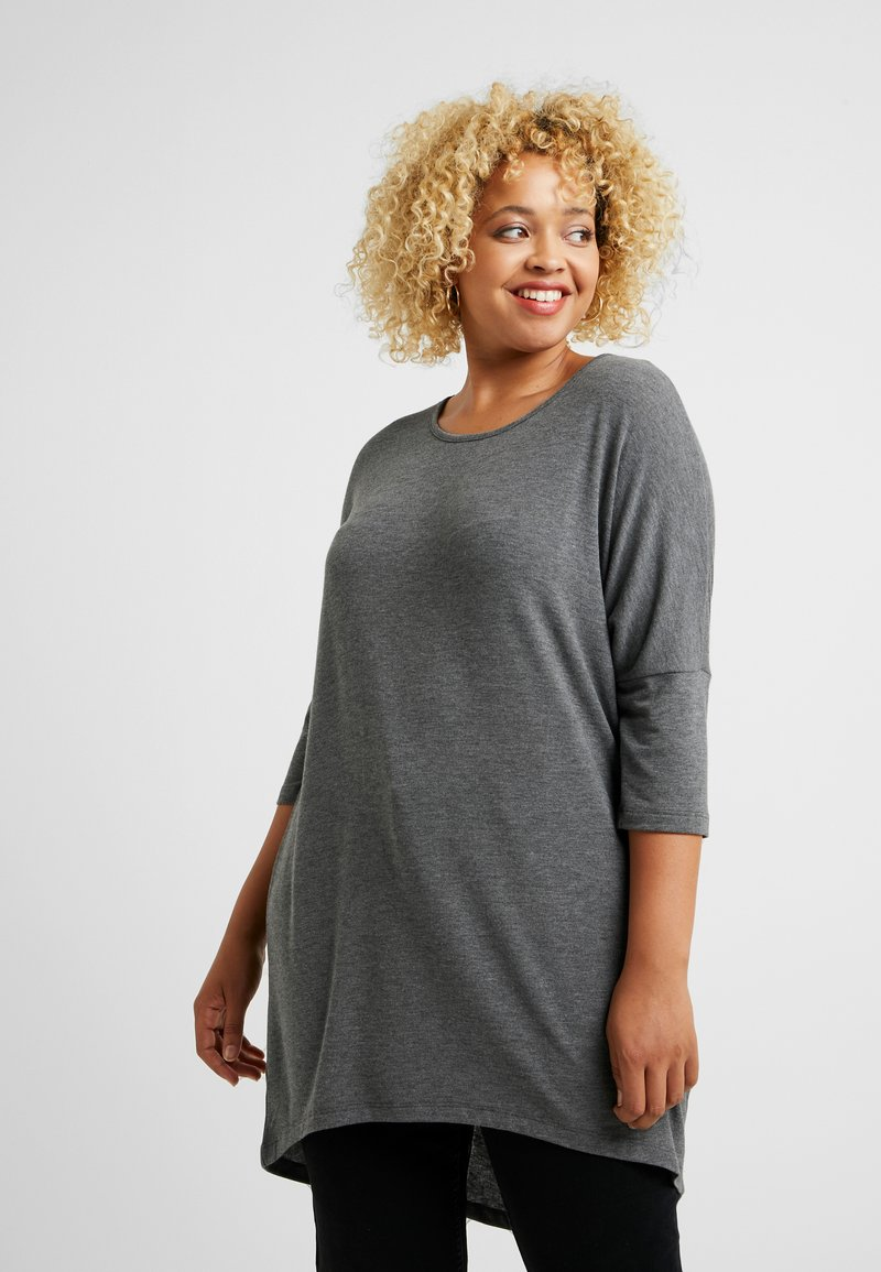 Vero Moda Curve - VMHONIE LOOSE LONG - Long sleeved top - medium grey melange