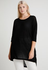 Vero Moda Curve - VMHONIE LOOSE LONG 3/4 TOP REP CURV - Topper langermet - black - 0