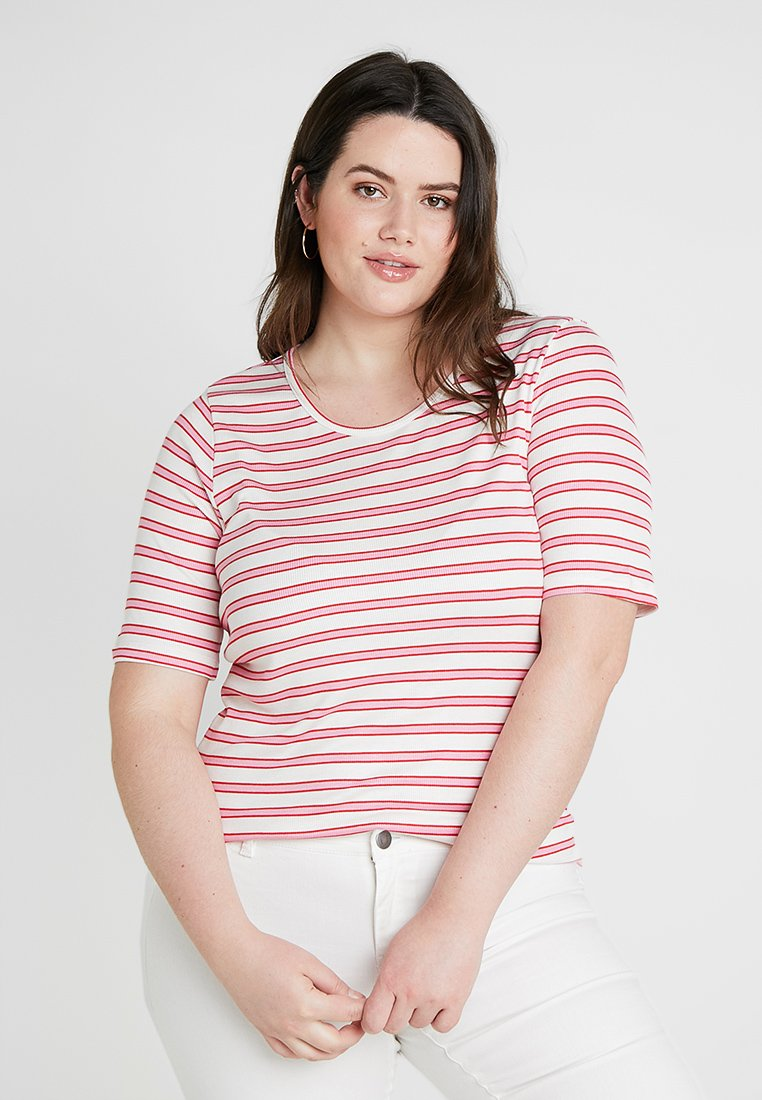 Vero Moda Curve - VMPIA  - T-Shirt print - snow white/prism pink/fiery red