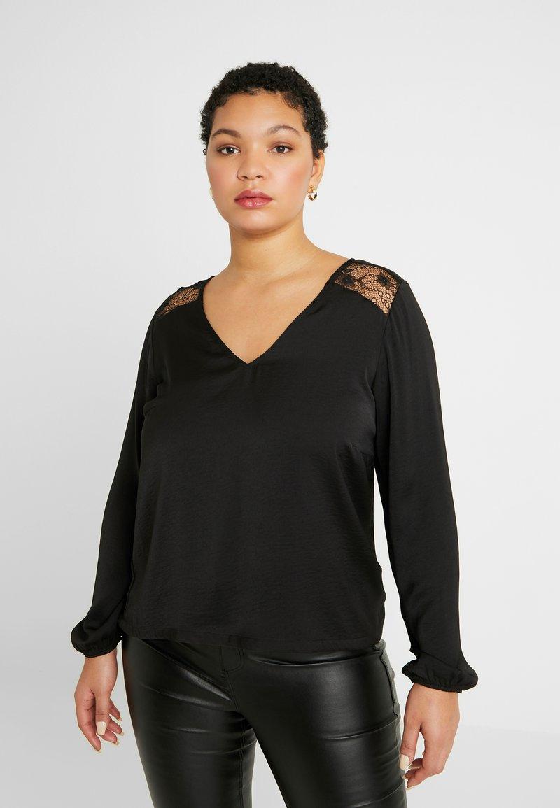 Vero Moda Curve - VMSANDRA V NECK - Bluser - black