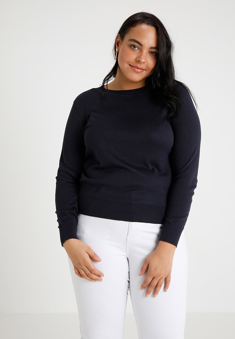 Vero Moda Curve - VMMILDA O NECK BUTTON - Strickpullover - night sky