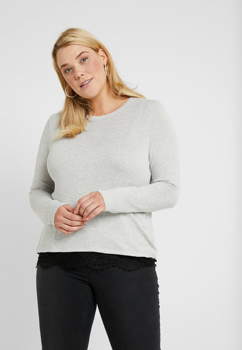 Vero Moda Curve - Jersey de punto - light grey melange/black