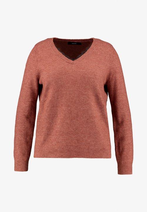 Vero Moda Curve VMIVA V NECK - Sweter - mahogany Odzież Damska CUKM-LT1 gorąca wyprzedaż w 2019 roku