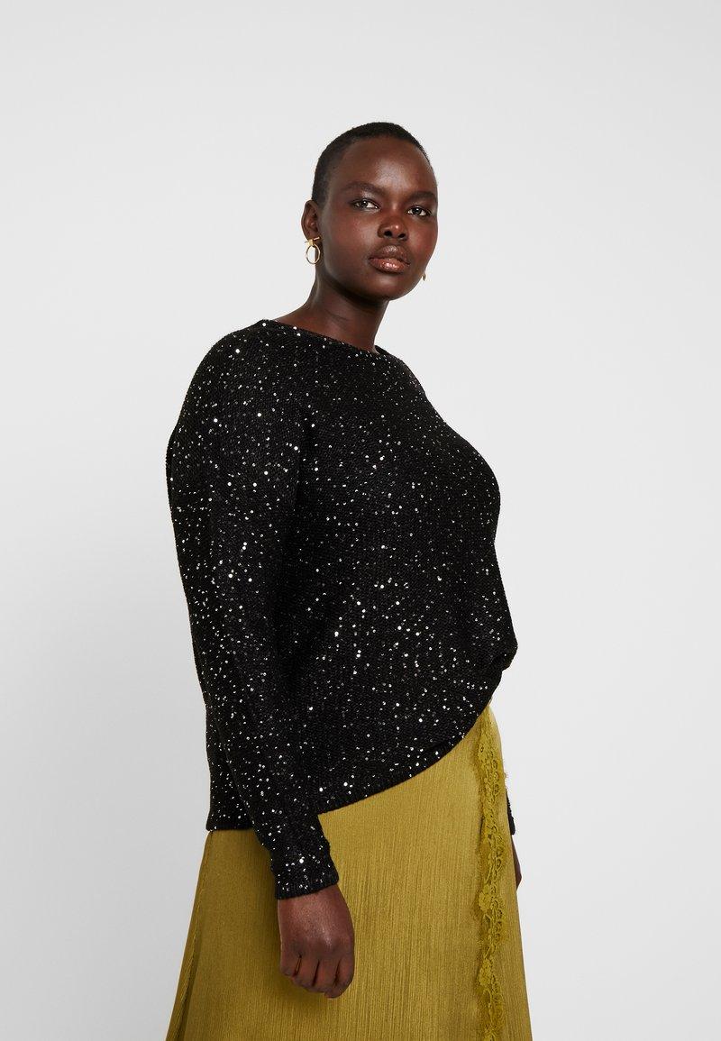 Vero Moda Curve - VMNEWLEILANI V-BACK - Pullover - black/silver