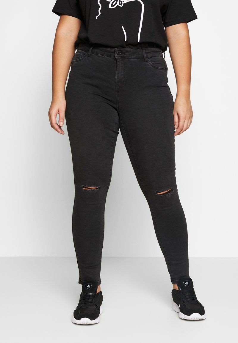 Vero Moda Curve - VMSEVEN DESTROY - Vaqueros slim fit - black