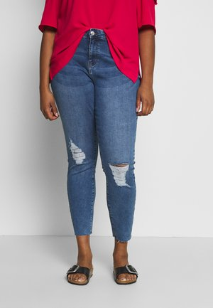 VMSEVEN SLIM ZIP ANK - Jeans Skinny Fit - medium blue denim