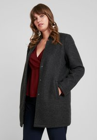 Vero Moda Curve - VMBRUSHED KATRINE  - Short coat - dark grey melange - 0