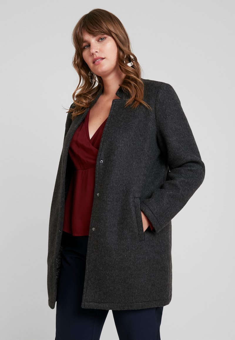 Vero Moda Curve - VMBRUSHED KATRINE  - Short coat - dark grey melange