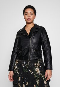 Vero Moda Curve - VMULTRAMALOU SHORT COATED JACKET - Faux leather jacket - black - 0