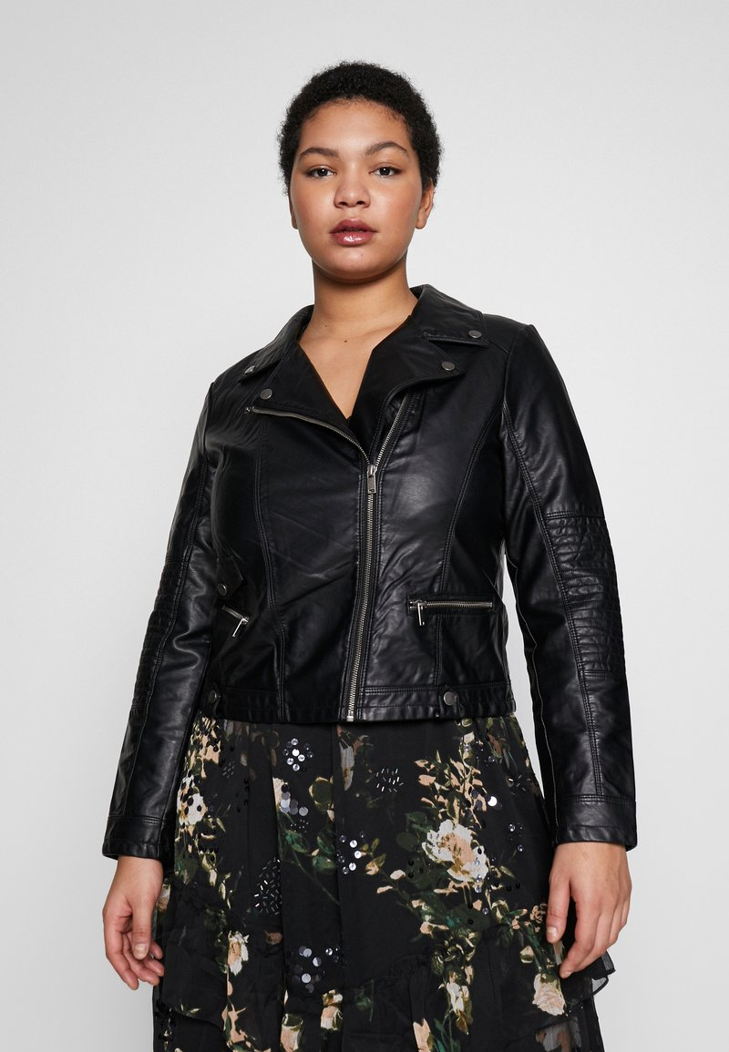 Vero Moda Curve - VMULTRAMALOU SHORT COATED JACKET - Faux leather jacket - black