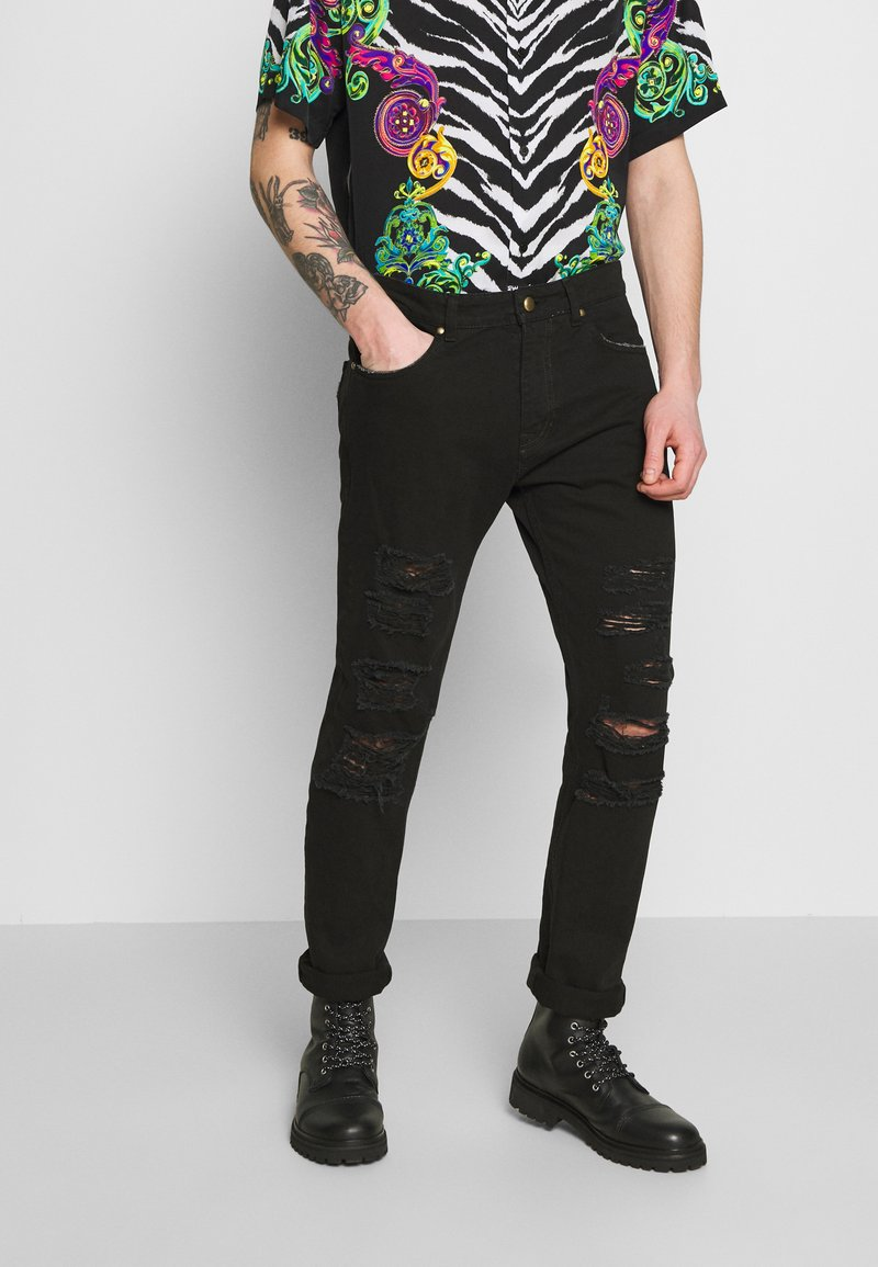 Versace Jeans Couture - MILANO DESTROYED - Slim fit jeans - black