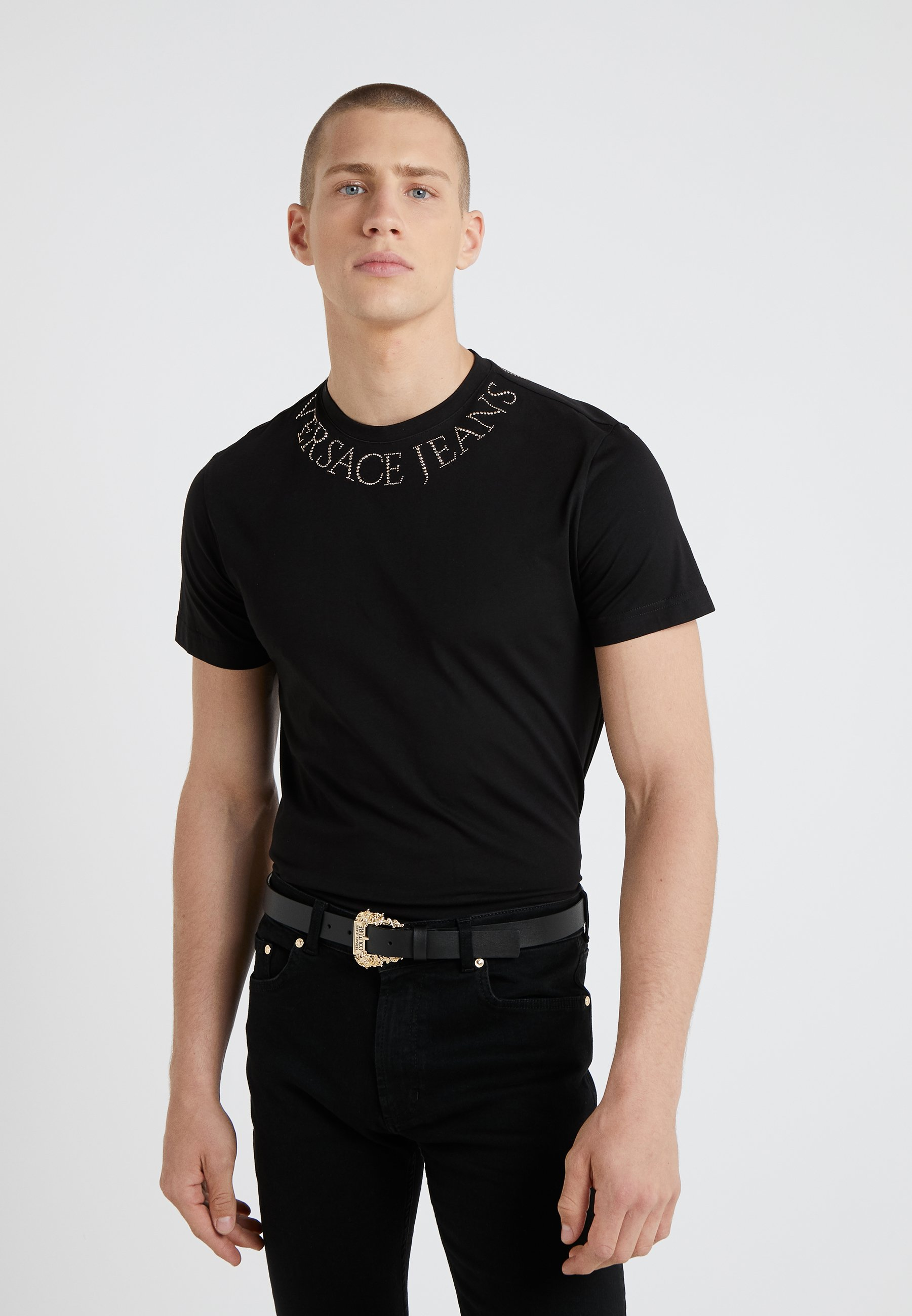 Jeans Nero Couture Versace shirt Con MaglietteT Stampa Yybvf76g