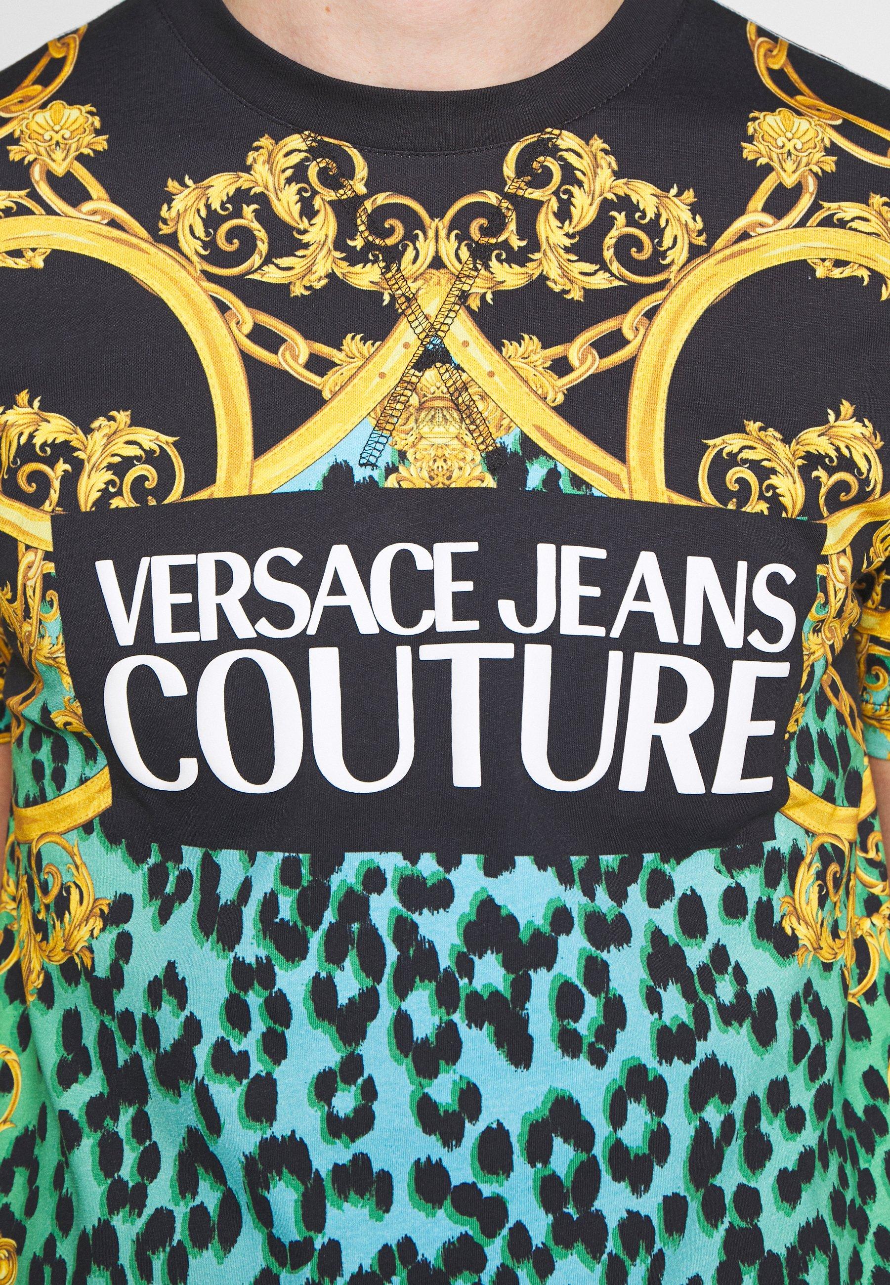 Versace Jeans Couture ALLOVER LEO - T-shirt z nadrukiem - pure mint