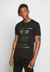 Versace Jeans Couture - LOGO SLIM - Print T-shirt - black - 0