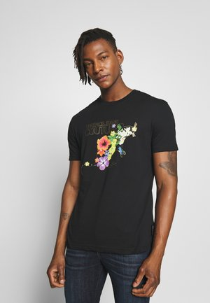 FLORAL RAT LOGO - Print T-shirt - black