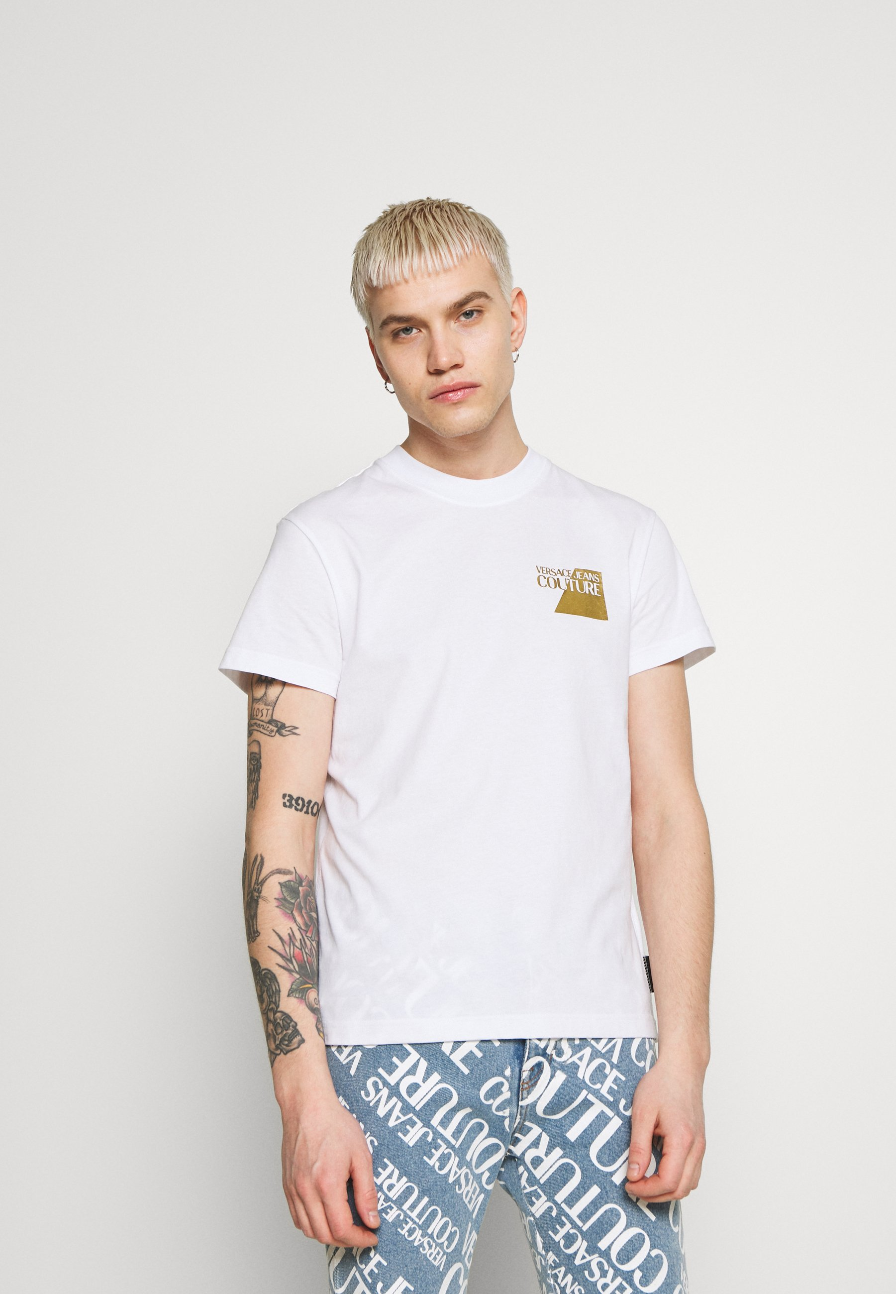 Versace Jeans Couture Small Foil Logo - T-shirt Med Print White/gold