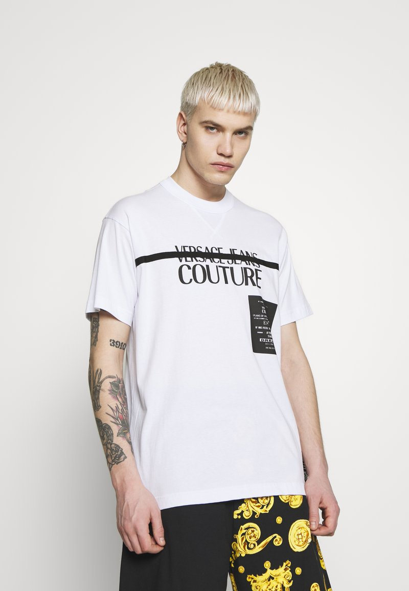 Versace Jeans Couture - LOGO TAPE - T-shirt print - white
