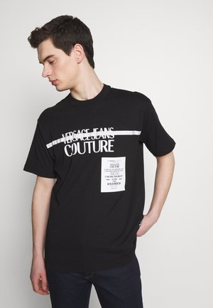 LOGO TAPE - Print T-shirt - black