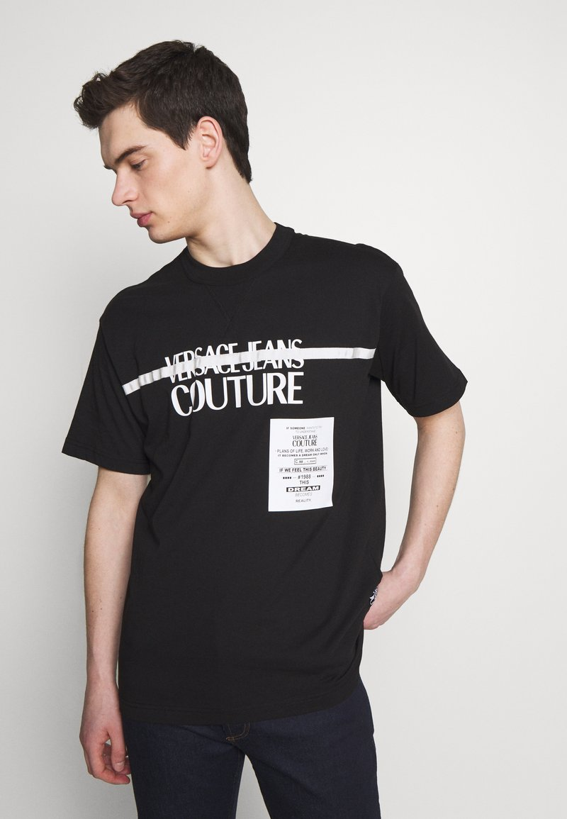 Versace Jeans Couture - LOGO TAPE - T-shirt imprimé - black