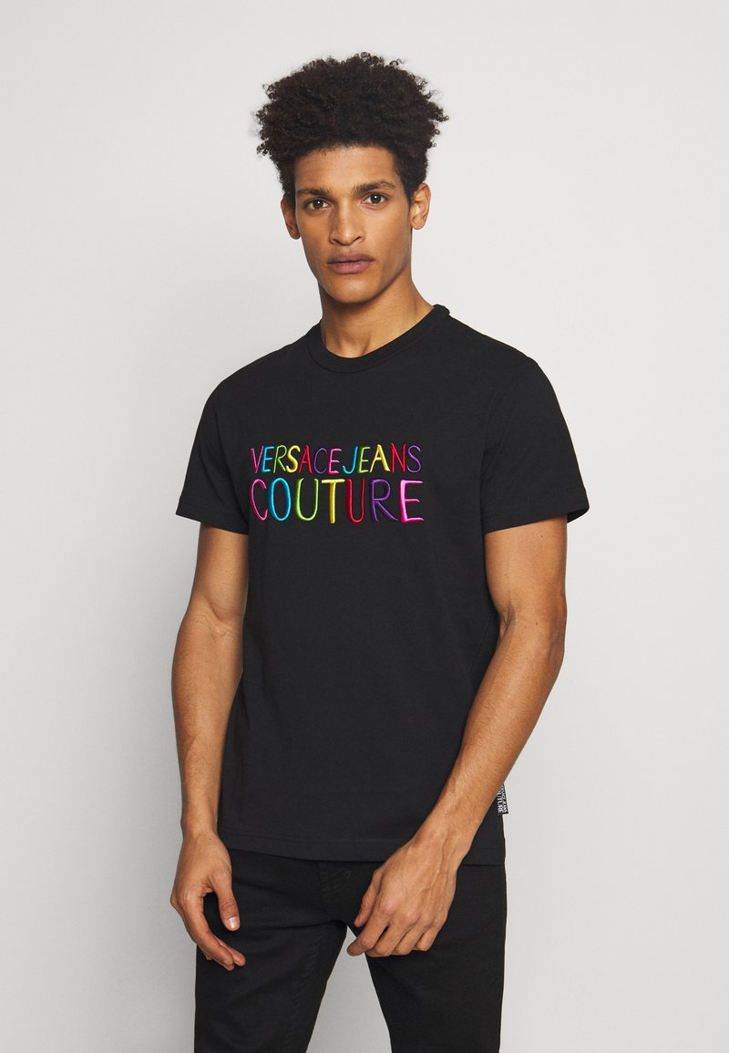 Versace Jeans Couture - COLOUR EMROIDERED LOGO - T-Shirt print - black