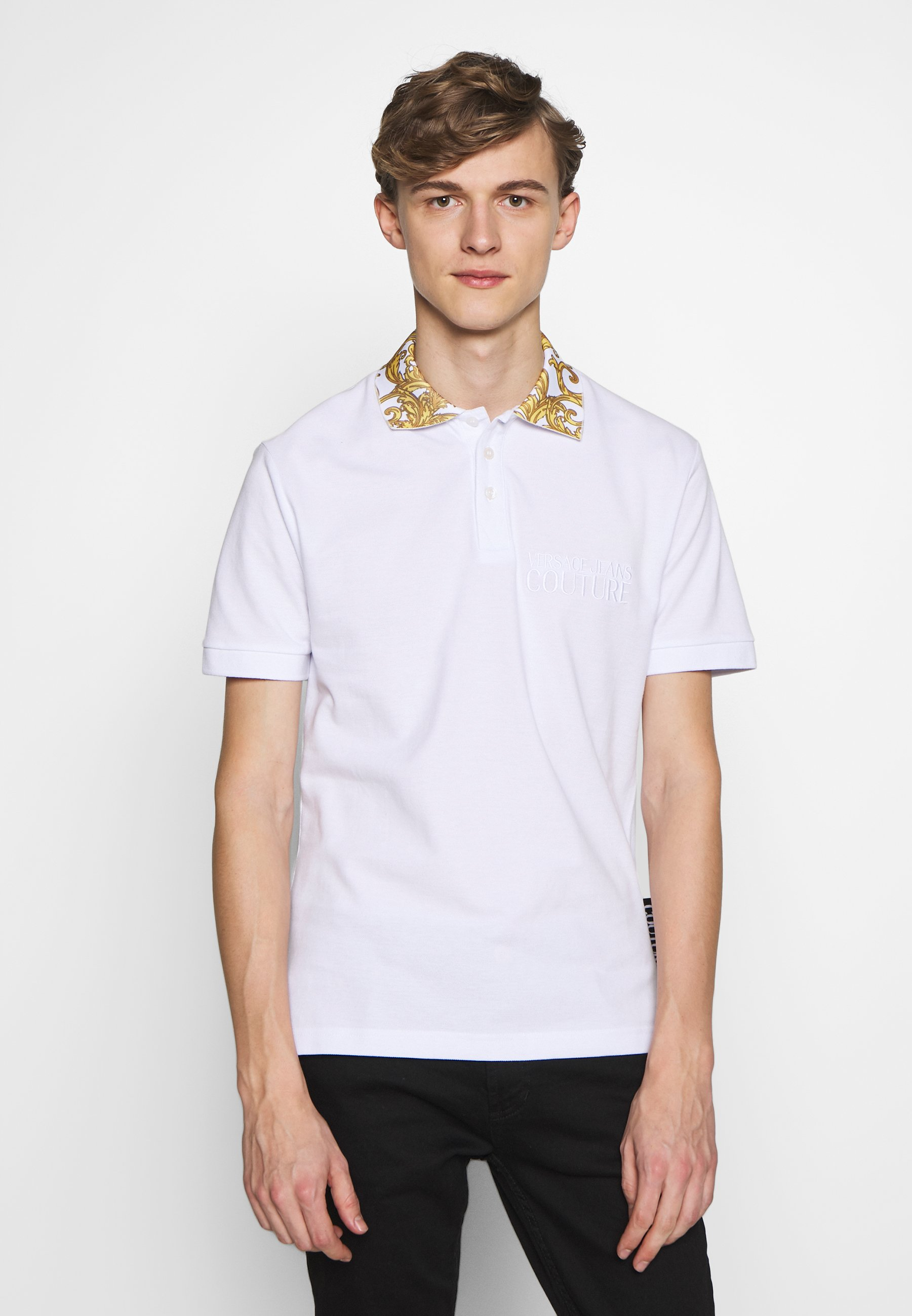 Versace Jeans Couture Baroque Collar Without The Patch - Poloskjorter White