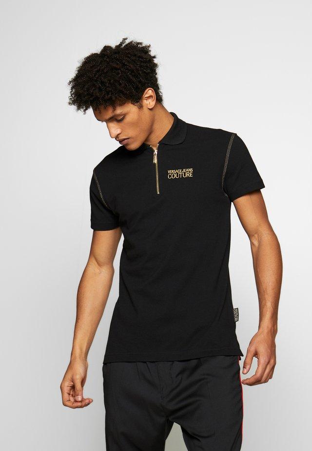 ZIP POLO - Poloshirt - black