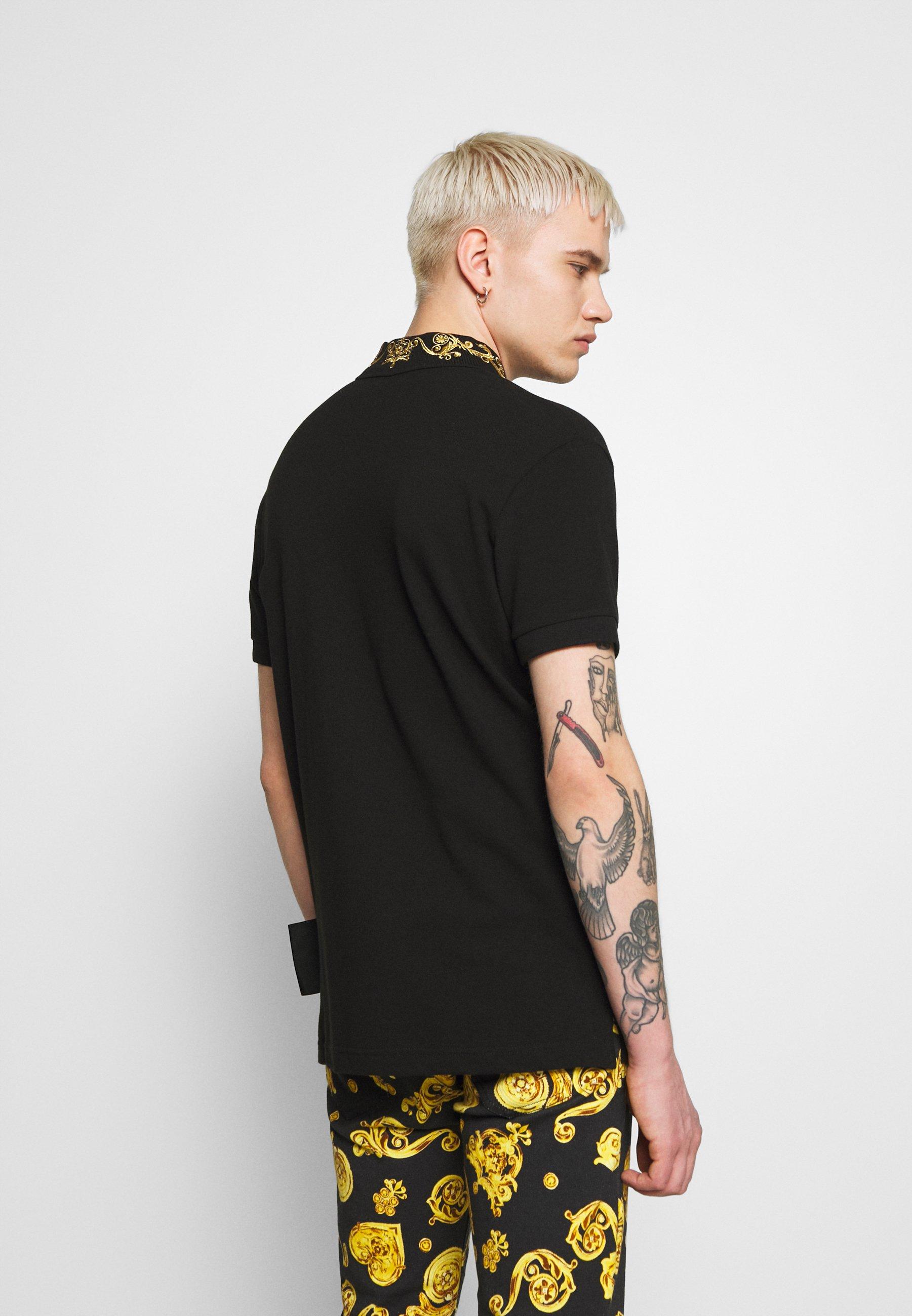 Versace Jeans Couture Baroque Collar Gold - Poloshirt Black