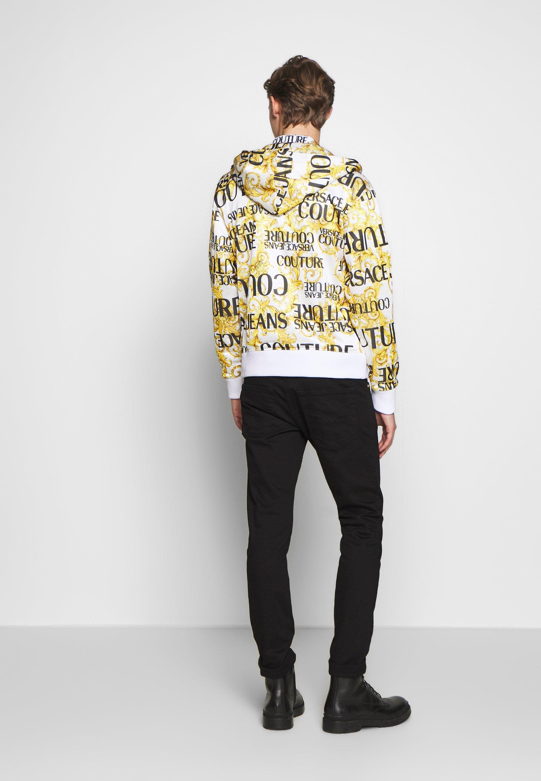 Versace Jeans Couture HOODIE ALLOVER PRINT ZIP THROUGH - Hettejakke - white