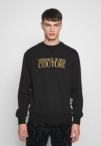 Versace Jeans Couture - CREW BASIC LOGO EMBROIDERED - Sweater - black - 0