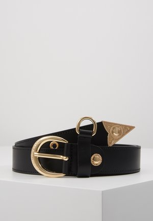HORSESHOE BUCKLE STUDDED BELT - Pasek - black