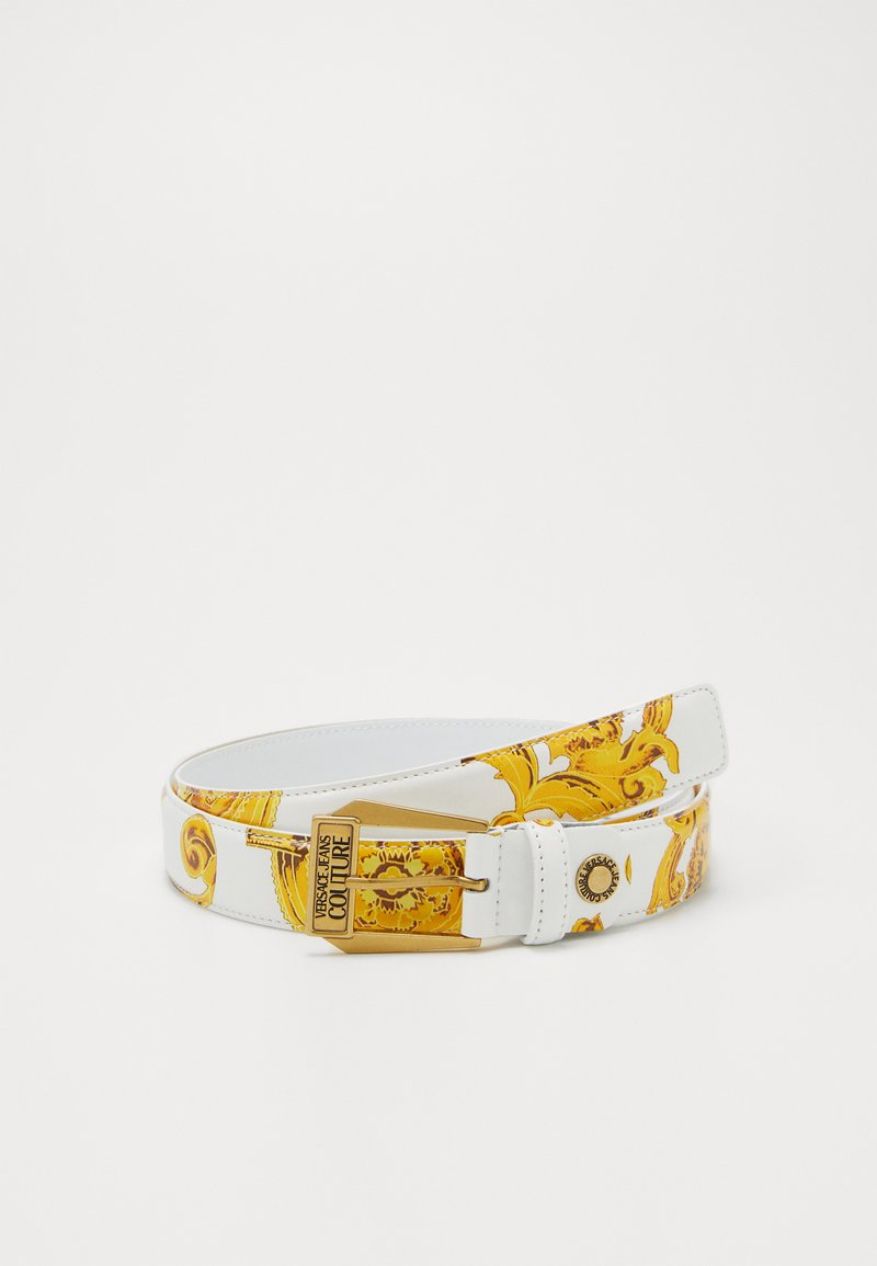 Versace Jeans Couture - BAROQUE PRINT PATENT BELT - Pásek - white/gold-coloured