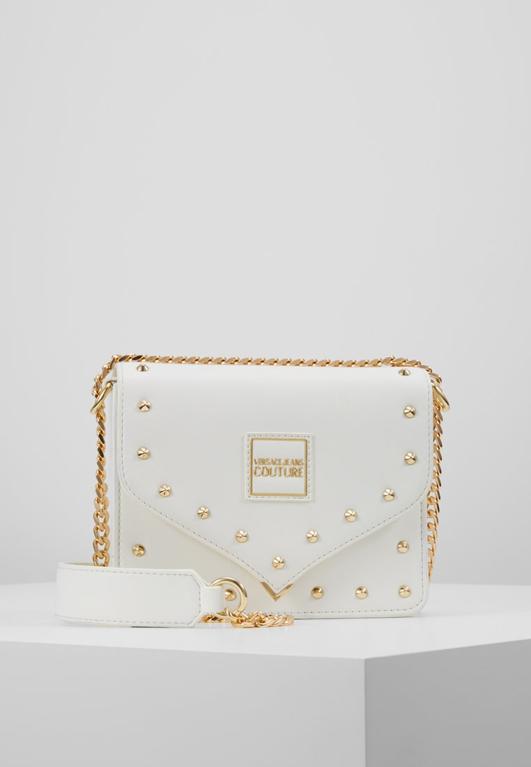 Versace Jeans Couture - STUDS SMALL SHOULDER BAG - Axelremsväska - bianco ottico