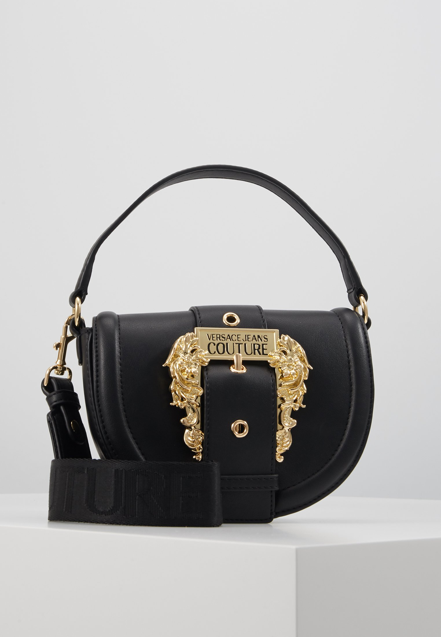 Versace Jeans Couture Baroque Buckle Half Moon - Sac À Main Black