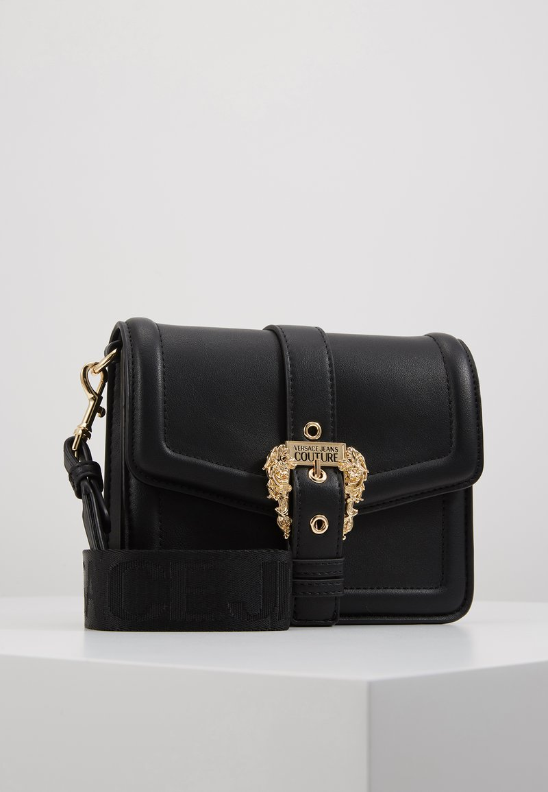 Versace Jeans Couture - BAROQUE BUCKLE FLAP OVER - Across body bag - black