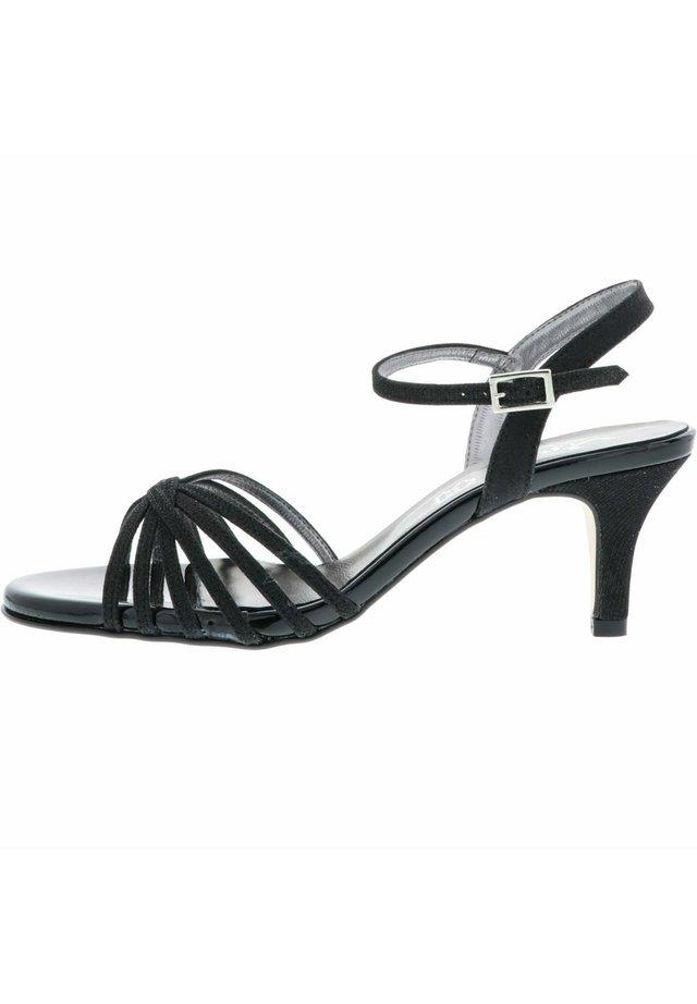 SANDALETTEN GLITZEROPTIK RIEMCHEN - High heeled sandals - schwarz
