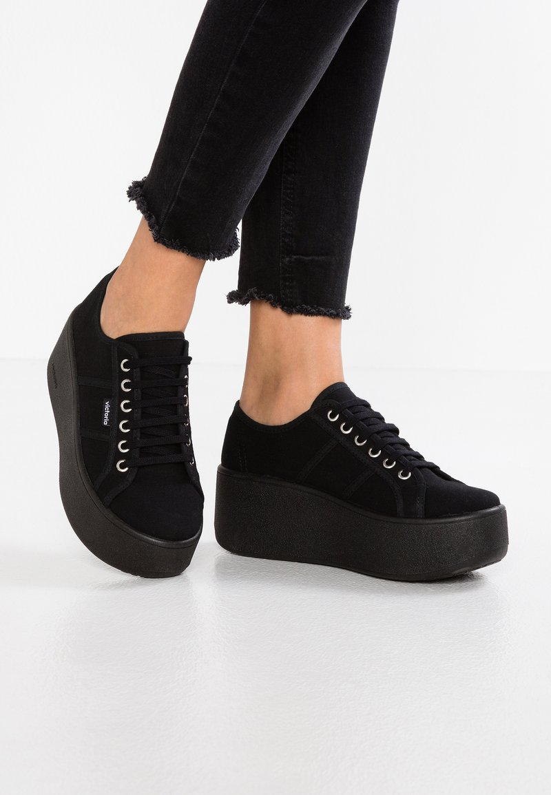Victoria Shoes - BASKET LONA PLATAFORMA - Baskets basses - black
