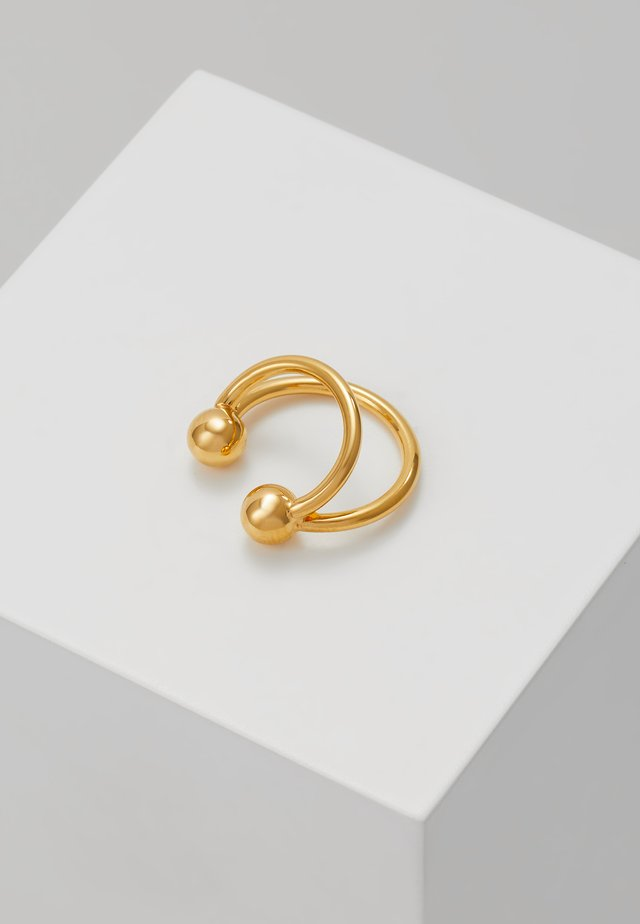 ANNA EARCLIP DOUBLE RINGS - Earrings - gold-coloured