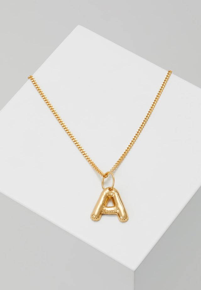 NECKLACE BALLOON LETTER PENDANT A - Kaulakoru - gold-coloured