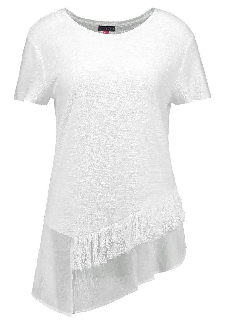 Vince Camuto Petite - RUFFLE TEE FRINGE TRIM - T-Shirt print - new ivory