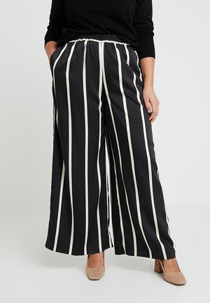 DRAMATIC STRIPE WIDE LEG PULL ON PANTS - Spodnie materiałowe - rich black